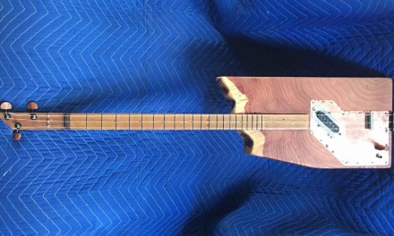 Upcycled end table into a solid body electric guitar