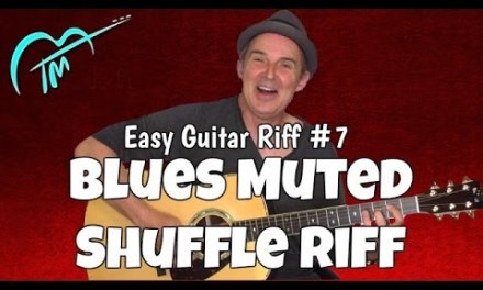 Easy Blues Muted Shuffle Riff #7 for Acoustic Guitar