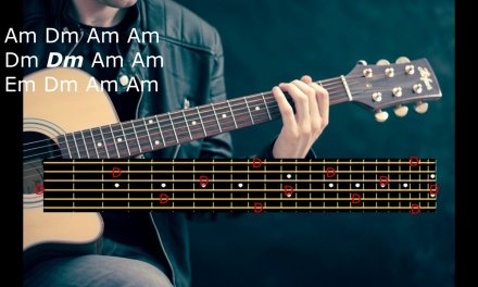 Blues in A minor Rock backing track with guitar notes display for soloing practice