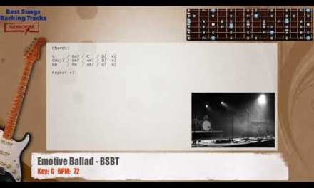 Emotive Ballad in G Guitar Backing Track with chords