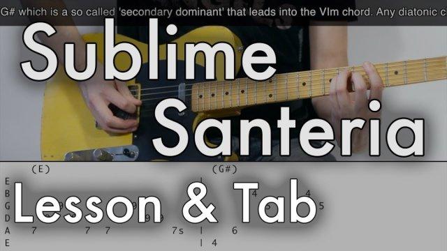 Sublime Santeria Guitar Lesson Tab On Screen The Glog