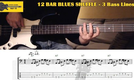 Blues BASS LESSON with TAB – 12 Bar Bass Lines in A (including Turnarounds)