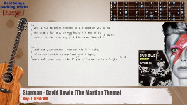 Starman – David Bowie (The Martian Theme) Guitar Backing Track with ...