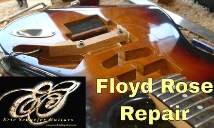 Wood patch repair for a Floyd Rose bridge