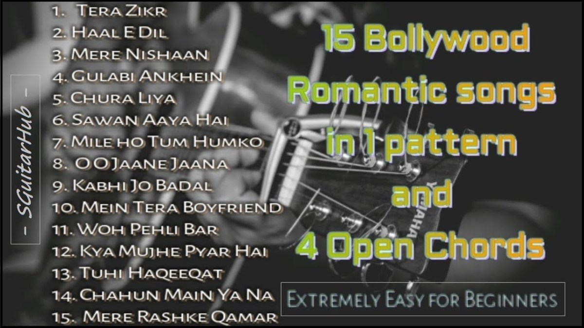 4 Chords 15 Romantic Guitar Songs Mashup Lesson Bollywoodhindi