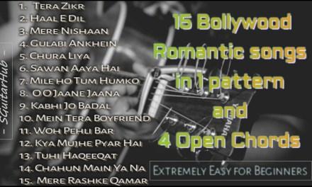 4 chords 15 Romantic Guitar Songs MASHUP Lesson | Bollywood/Hindi Songs MASHUP | Easy for Beginners
