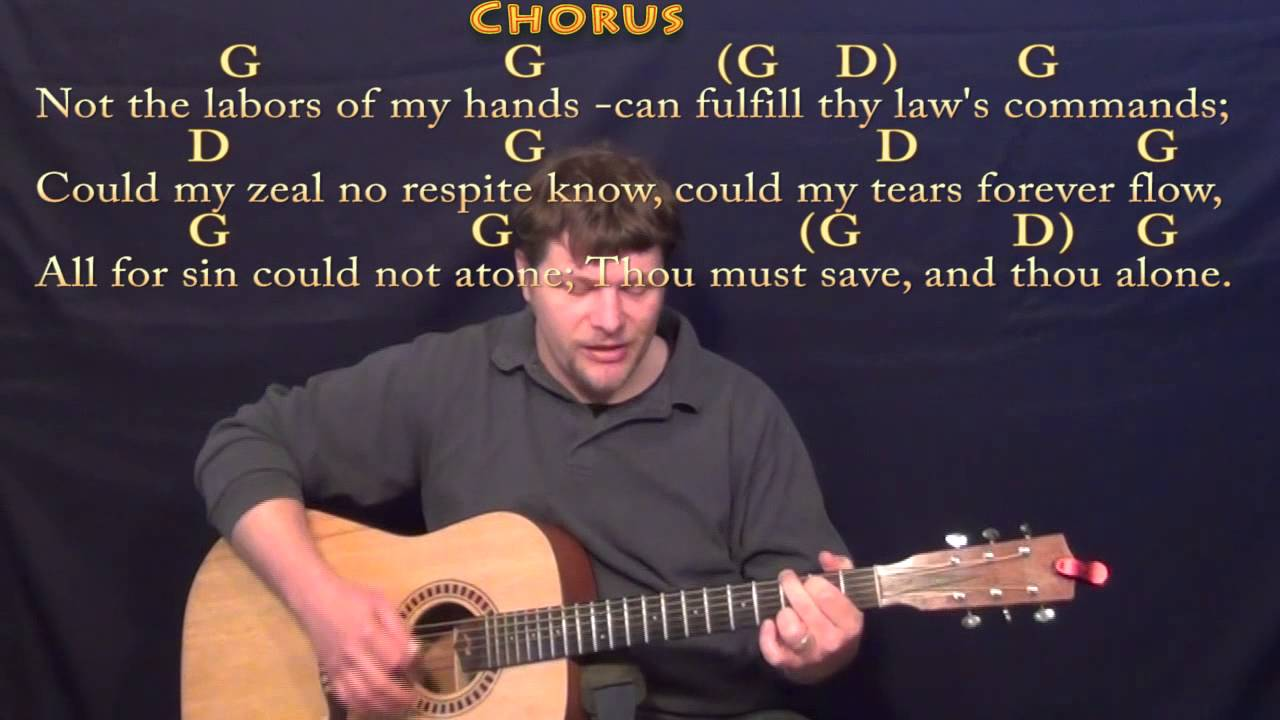 Rock Of Ages Hymn Strum Guitar Cover Lesson In G With Chords
