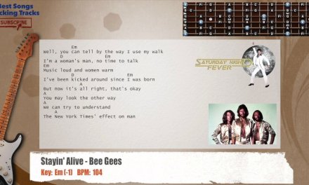 Stayin' Alive – Bee Gees Guitar Backing Track with chords and lyrics