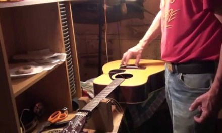 Yamaha Acoustic Guitar Repair Battery Box and a cool Cromatic G flat picking lick!