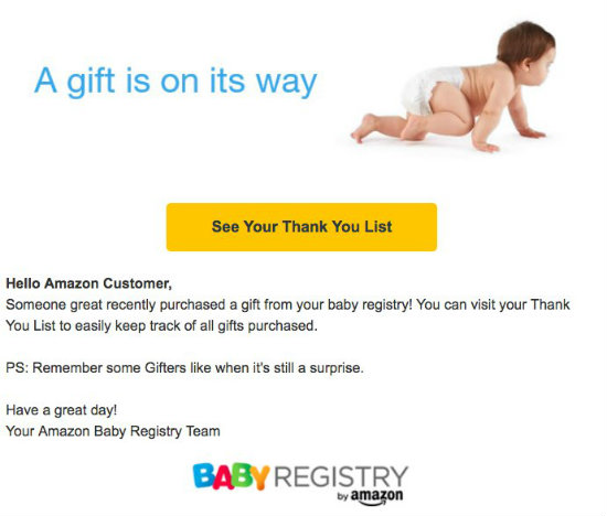 Amazon congratulates non-expectant women for their baby registries