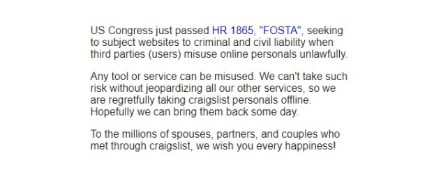 Craigslist pulls personal ads ahead of FOSTA signing