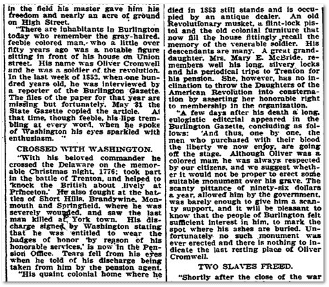 interview with African American Revolutionary War veteran Oliver Cromwell, Trenton Evening Times newspaper article 11 April 1905