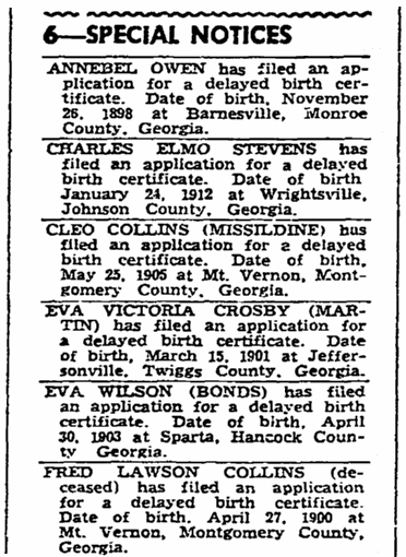 article about delayed birth certificates, Macon Telegraph newspaper article 29 December 1944