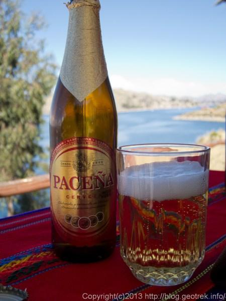 130907ボリビア、ティティカカ湖、昼食のビール