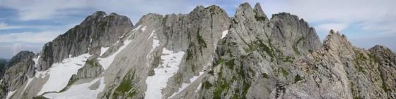 110815剱岳北方稜線チンネパノラマ