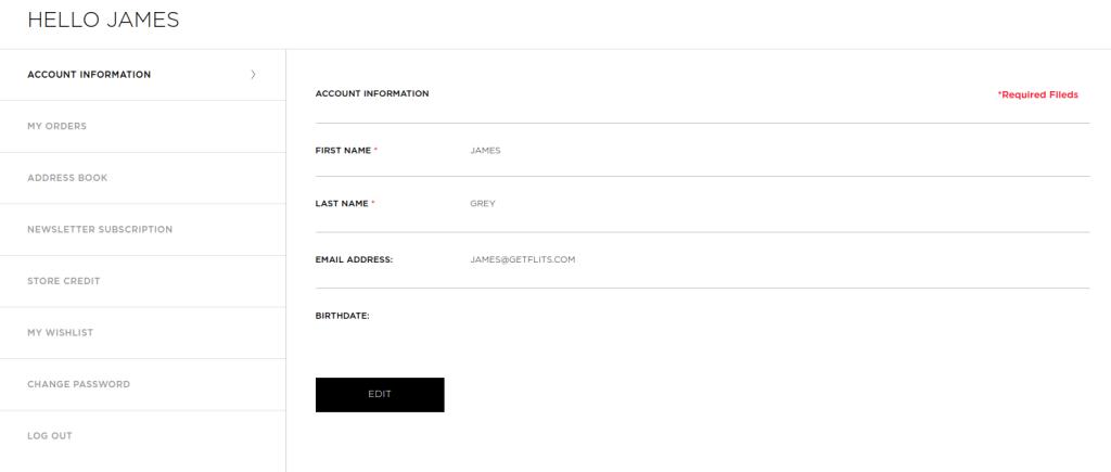 A proper customer account page