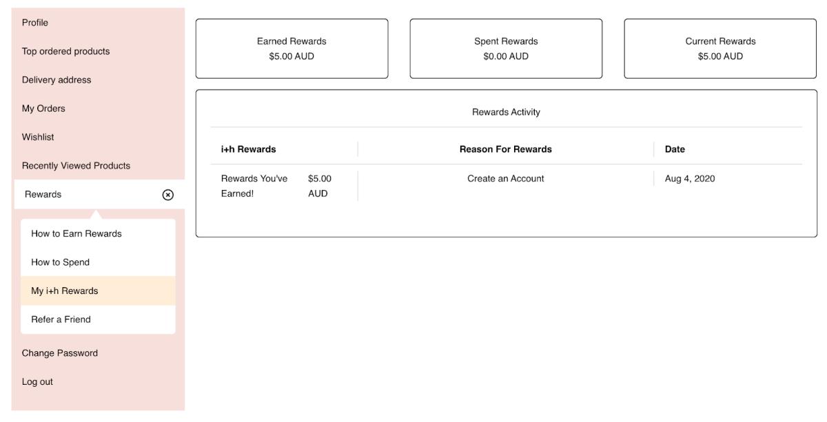 shopify rewards program - customer account page