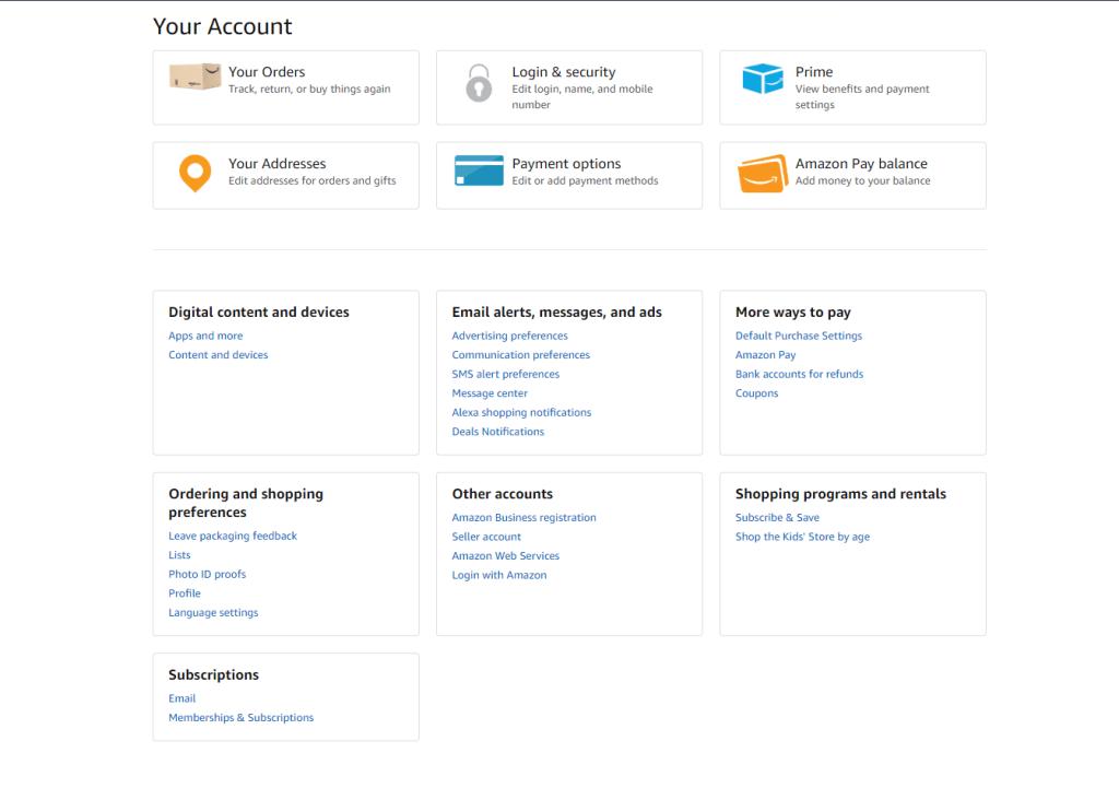 customer account page amazon