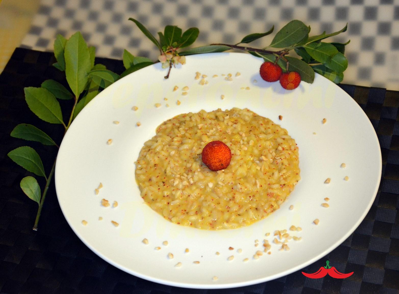 Risotto ai Corbezzoli, frutti e foglie