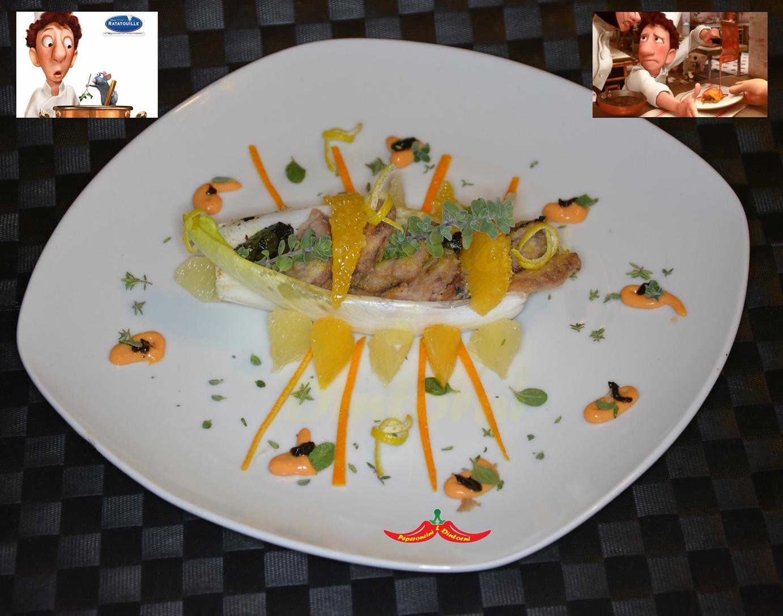Ratatouille, Animelle con salsa al Bergamotto, Maggiorana e aglio Nero
