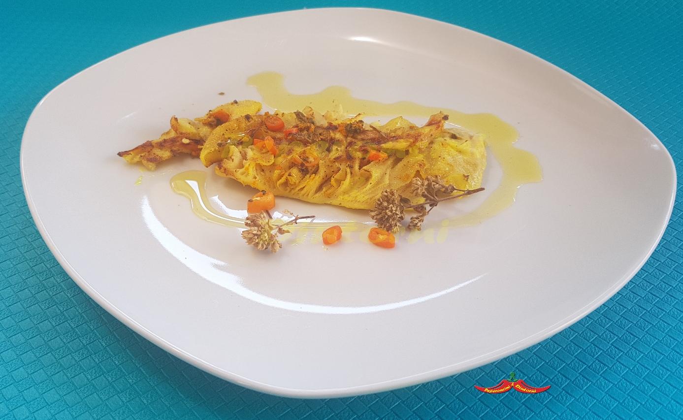 Centopelli alla griglia con Salmoriglio, Arancio di Stromboli e Curcuma