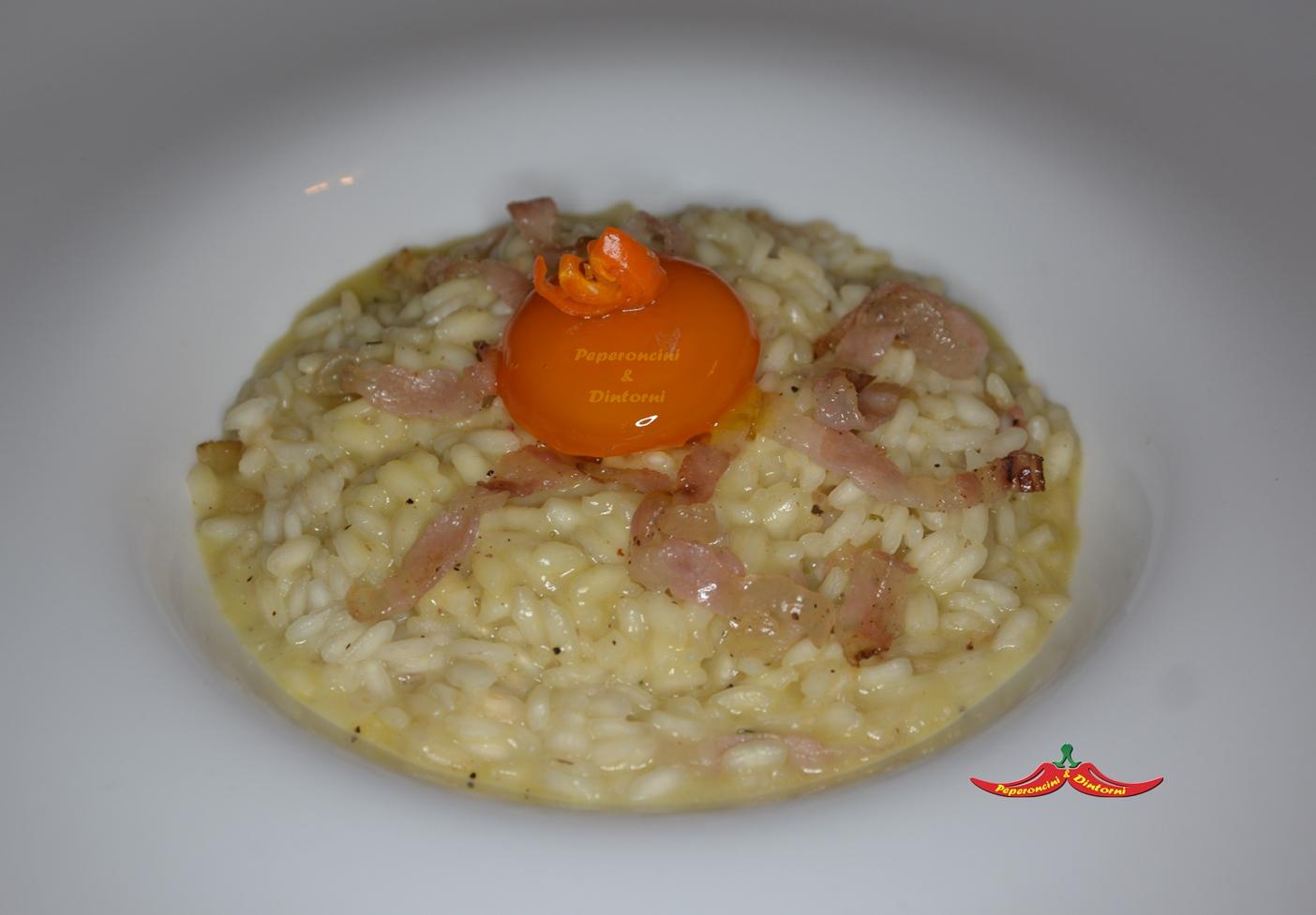 Risotto alla Carbonara, uovo marinato e peperoncino Erotico