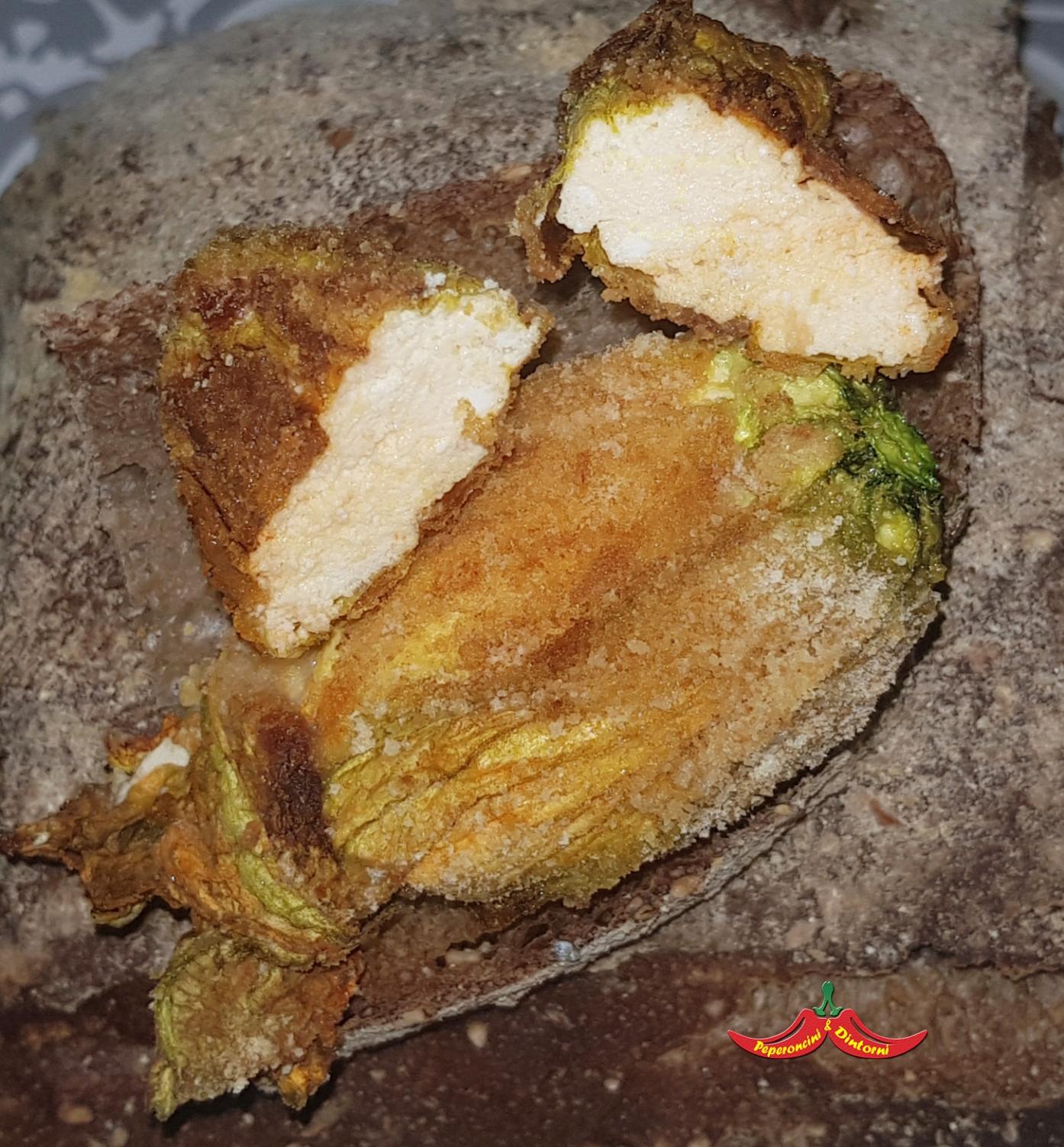 Fiori di zucca al forno, ricotta, pecorino romano e 'nduja