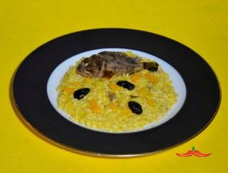 Risotto allo scorfano nero e peperone giallo di Carmagnola