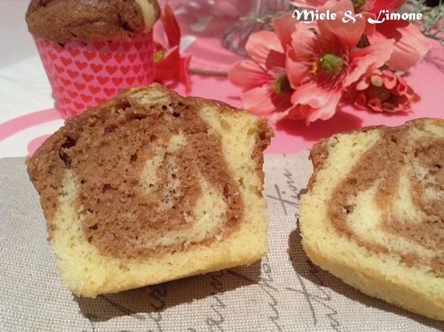 muffin variegati alla nutella:interno