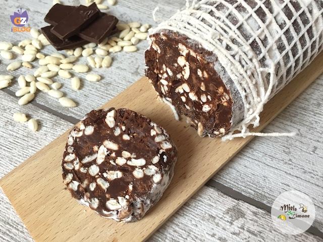 Salame di cioccolato con riso soffiato – ricetta senza uova