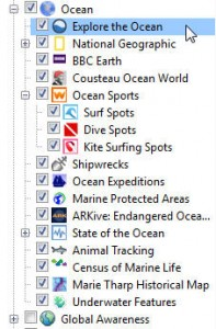 Ocean data layers in google earth 5