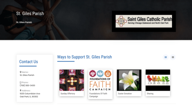 St. Giles Catholic Parish donation page