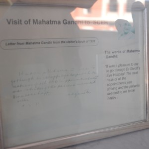 A note by Mahatma Gandhi about Dr. Shroff's Charity Eye Hospital