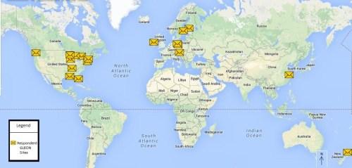 Image: Map of GLEON sites in survey. Source: Alicia Caruso.