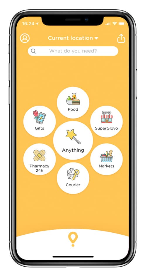 Homepage de app Glovo