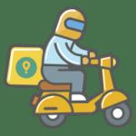 Un motorino con l'inconfondibile zainetto giallo che consegna delle sigarette a domicilio