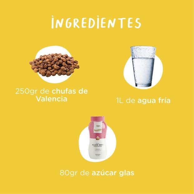 Ingredientes de la horchata casera: 250 gramos de chufas de Valencia 1 litro de agua fría 80 gramos de azúcar glas