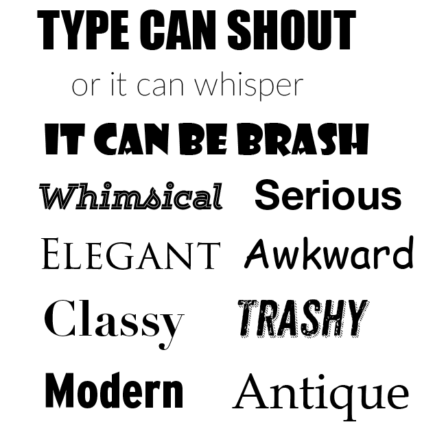 A selection of typefaces showing different the moods type can communicate