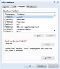 Dateitypendialog unter Windows XP