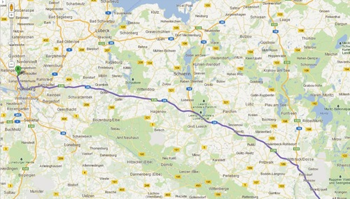 Google Maps - Auf dem Weg nach Hamburg