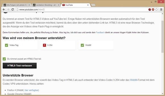 YouTube mit HTML5 Einstellungsdialog
