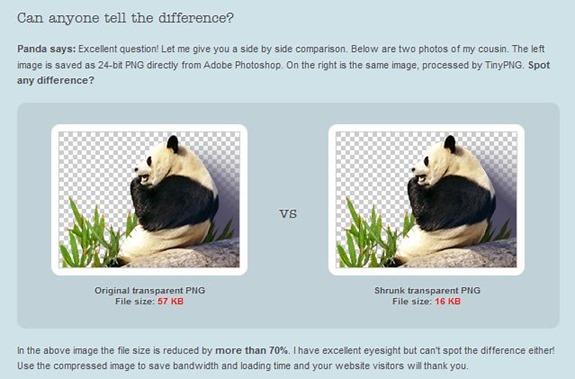 Vergleich von PNG normal und optimiert