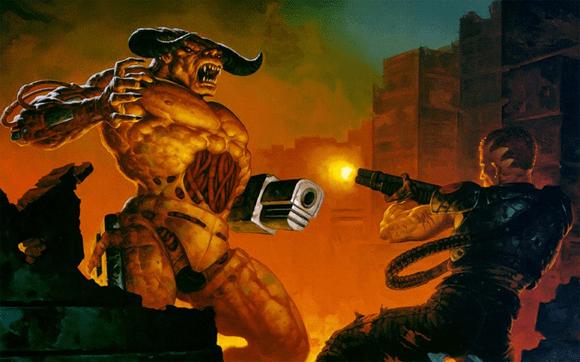 Ausschnitt aus dem Bild, das später als DOOM2 Startbild verwendet wurde. Artwork by BROM