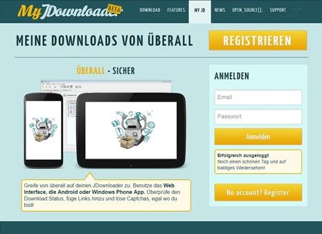jDownloader_Web_Startseite