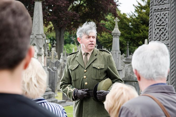 A tour guide at Glasnevin Cemetery in Ireland.