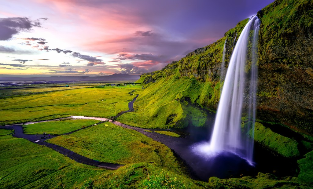 Large waterfall in Iceland.