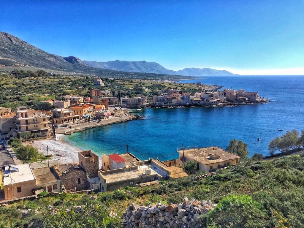 View over Gerolimenas, mani peninsula, greece