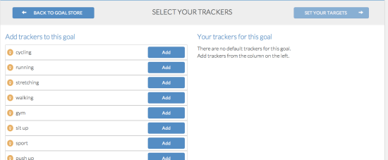 goalmap - select your trackers