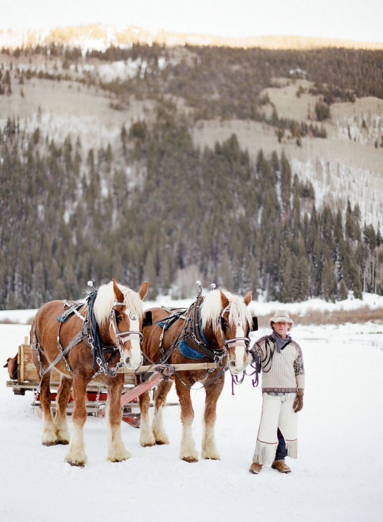 snowy-winter-wedding-ideas-horse-drawn-sleigh