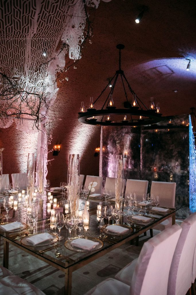 Calistoga Ranch Wine Cave Rehearsal Dinner Decor